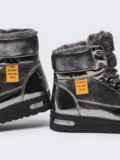 Зимние ботинки с лакированными вставками серые 51760, фото 4