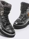 Зимние ботинки с лакированными вставками серые 51760, фото 5