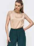 Шелковая блузка с гипюровой кокеткой бежевая 45712, фото 2