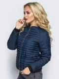 Темно-синяя стеганая куртка с прорезными карманами 14689, фото 2