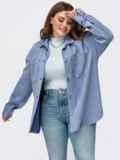 Замшевая рубашка батал голубого цвета 55511, фото 2