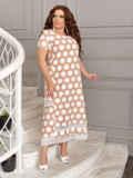 Бежевое платье батал в белый горох 49194, фото 2