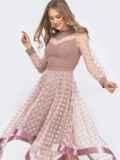 Бежевое платье в горох с рукавами и юбкой из фатина 45846, фото 2