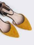 Контрастные босоножки из искусственной замши желтые 45974, фото 3