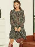 Короткое платье из шифона с принтом зеленое 53060, фото 2