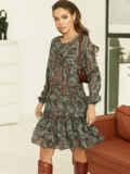 Короткое платье из шифона с принтом зеленое 53060, фото 3