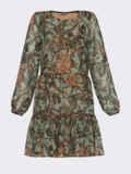 Короткое платье из шифона с принтом зеленое 53060, фото 5