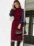 Комбинированное платье с шифоновыми рукавами и поясом бордовое 55201, фото 3