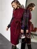 Комбинированное платье с шифоновыми рукавами и поясом бордовое 55201, фото 1