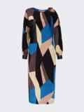 Трикотажное платье на одно плече с принтом черное 55203, фото 5