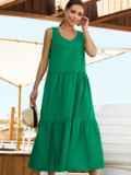 Хлопковое платье свободного кроя без рукавов зеленое 54220, фото 2