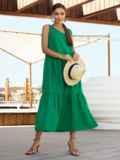Хлопковое платье свободного кроя без рукавов зеленое 54220, фото 3