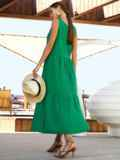 Хлопковое платье свободного кроя без рукавов зеленое 54220, фото 4