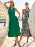Платье без рукавов из хлопка с V-образным вырезом зеленое 54219, фото 2