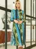 Шифоновое платье-рубашка с анималистичным принтом голубое 53354, фото 4