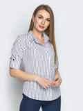 Белая блузка в полоску с супатной застежкой 20875, фото 2