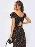 Черное платье с вырезом по спинке на пуговицах 53945, фото 3
