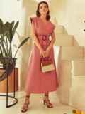Коралловое платье из льна с расклешенной юбкой 53869, фото 2