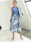 Шифоновая юбка-миди с цветочным принтом голубая 53999, фото 3