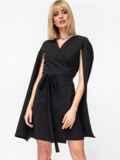 Черное платье на запах с разрезами на рукавах 52870, фото 2
