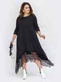 Чёрное платье батал с гипюром и асимметричным низом 44575, фото 1