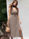 Бежевое платье из софта с поясом 53887, фото 2