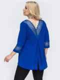 Комплект большого размера из удлиненной блузки и брюк синий 49847, фото 3