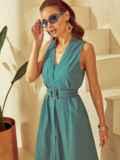 Платье без рукавов из льна с V-образным вырезом зеленое 53873, фото 4