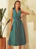 Приталенное платье из льна с фигурным вырезом зеленое 53873, фото 1