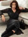 Черное платье из шифона с принтом и юбкой клеш 55206, фото 4