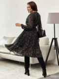 Черное платье из шифона с принтом и юбкой клеш 55206, фото 5