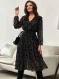 Черное платье из шифона с принтом и юбкой клеш 55206, фото 2