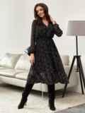 Черное платье из шифона с принтом и юбкой клеш 55206, фото 3