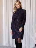 Черное платье-трапеция с воротником-стойкой и принтом 52838, фото 2