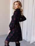 Черное платье-трапеция с воротником-стойкой и принтом 52838, фото 4