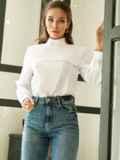 Классическая белая блузка из софта с кокеткой 52833, фото 2