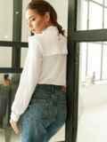 Классическая белая блузка из софта с кокеткой 52833, фото 4