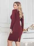 Платье большого размера со вставками из пайеток бордовое 43393, фото 2