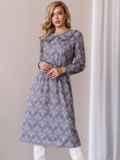Платье с принтом и отложным воротником коричневое 52839, фото 2