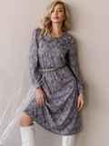 Платье с принтом и отложным воротником коричневое 52839, фото 3