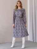 Платье с принтом и отложным воротником коричневое 52839, фото 4