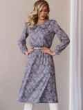 Платье с принтом и отложным воротником коричневое 52839, фото 5