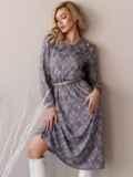Платье с принтом и отложным воротником коричневое 52839, фото 6