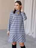 Платье-трапеция в клетку с фигурным вырезом синее 52836, фото 2