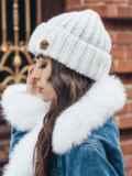 Белая шапка «резинка» с отворотом 15465, фото 2