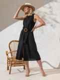 Приталенное платье из чёрного льна на пуговицах  49158, фото 3