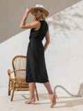 Приталенное платье из чёрного льна на пуговицах  49158, фото 4
