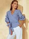 Темно-синяя блузка на запах в клетку с объемными рукавами 53853, фото 1