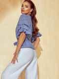 Темно-синяя блузка на запах в клетку с объемными рукавами 53853, фото 2