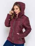 Бордовая куртка с воротником-стойкой и съёмным капюшоном 40630, фото 3
